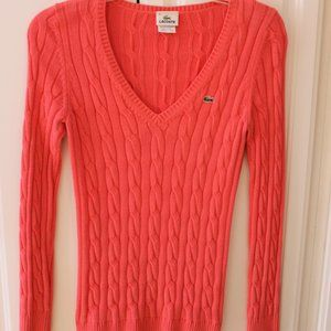Lacoste Women's Pink V Neck sweater